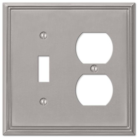 Amerelle Metro Line 1 Toggle 1 Duplex Wall Plate Brushed Nickel 77tdbn Plates On Wall Brushed Nickel Polished Chrome