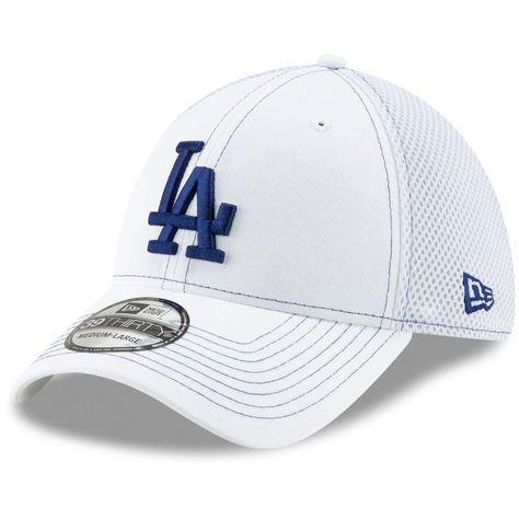 54b9197b71c45 Men s Los Angeles Dodgers New Era White Team Neo 39THIRTY Flex Hat ...