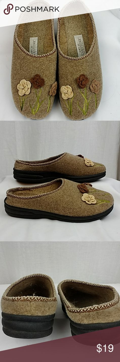 Amy Jo Gladstone Floral Tan Slippers 9-9.5 Amy Jo Gladstone Floral Tan Slippers in size 40, but I would call this 9-9.5.  I wear a 9.5-10 and they are a little small for me.  Pre-owned, but in excellent condition.  Hardly any wear on these.  The bottoms are rubber, anti-slip and makes them sturdy. and I believe the uppers are wool.  Super cute slippers. Offers welcome. Smoke free home. You can bundle and save!  Thank you for checking out my stuff and have a great day! #209 Amy Jo Gladstone Shoes
