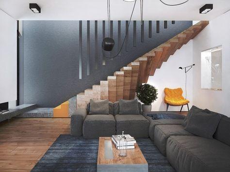 3d-visualisierung-moderne wohnung-schwebende innentreppe-holz, Innenarchitektur ideen
