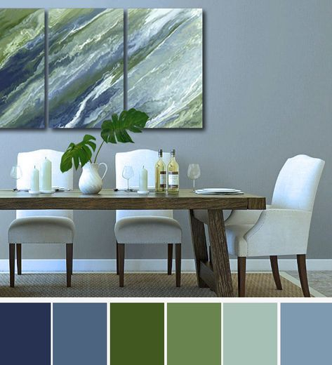 Navy Olive Abstract Wall Art Large 3 Piece Canvas Print Set Blue Green Sage Dining Room Living Bedroom Office Triptych In 2020 Green Living Room Decor Living Room Green Blue And