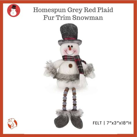 This Homespun critter is adorable. The snowman is dressed in a red plaid scarf and white woolen with grey faux fur trim to compliment each other. Their long beaded legs allow them to sit anywhere either together or separate. #balooworldotca #christmasdecorating #decoration #snowman #christmaslove #homedecor #christmasvibes #snowmandecor #shoplocal #homespun #furtrim #plaidchristmas #redchristmas #holidaydecor #christmasdecor #christmasshopping #christmas #christmasgifts #christmasdecoration