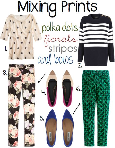 bold and playful printed pants  with simple striped or polka dot tops | 1. J.Crew polka dot top | 2. Topshop striped knit | 3. Madewell floral pants 4. ASOS colorblock shoes | 5. Steve Madden shoes | 6. J.Crew jacquard pants