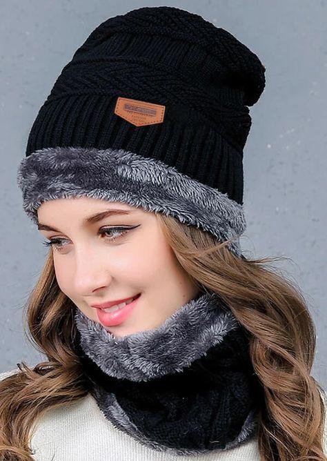 Unisex Winter Ski Beanie Cap Knitted Snow Neck Warmer Hat Scarf Balaclava Plush