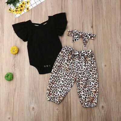 Newborn Baby Girl Leopard Print Tops Romper Pants Hat Outfit Clothes 3Pcs Set