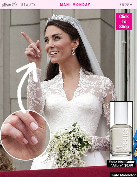 Monday: Kate Middleton's Exact Bridal Manicure — Shop Her Polish Let Kate Middleton's classy bridal manicure inspire you for your own upcoming wedding!Let Kate Middleton's classy bridal manicure inspire you for your own upcoming wedding!