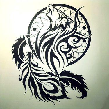 Tribal Dreamcatcher Tattoo Design Tribal Wolf Tattoo Lone Wolf Tattoo Wolf Tattoos