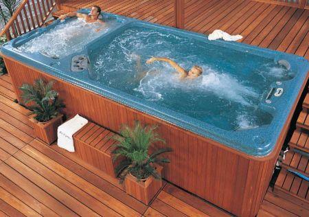 Swim Spa Fitness Health And Therapy Hot Tub Swim Spa Swim Spa Tub Pools