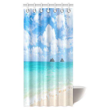 Mypop Tropical Coastal Contemporary Modern Decor Shower Curtain
