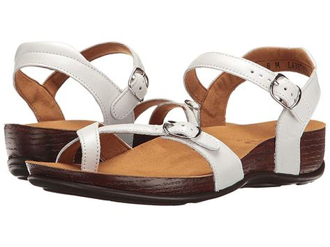 SAS Pampa (Pearl White) Women's Shoes. Enjoy your downtime in the comfortable and playful Pampa sandal. Leather or patent uppers. Adjustable buckle closure at toe and ankle. Cushioned heel strap. Soft and breathable leather linings. A broad  contoured footbed features soft Super Suede linings that molds to the natural arches and curves of your foot for maximum comfort and shock absorption A multi-layered contoured footbed prov #SAS #Shoes #ClosedFootwear #GeneralClosedFootwear #White