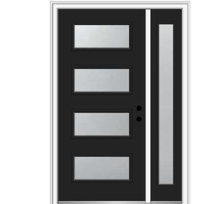 48 In X 80 In Celeste Frosted Glass Left Hand Inswing 4 Lite Eclectic Painted Steel Prehung Front Door Wi In 2020 Mmi Door Exterior Doors With Glass Steel Front Door