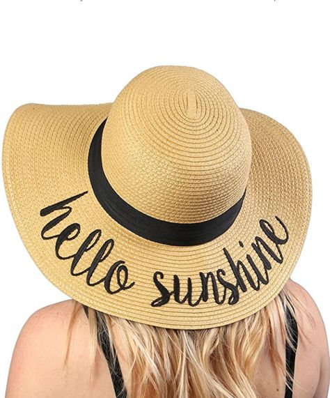 3f7981972be023 Hello Sunshine floppy beach sun hat, sunhat with writing, phrases, cute  sayings, ad
