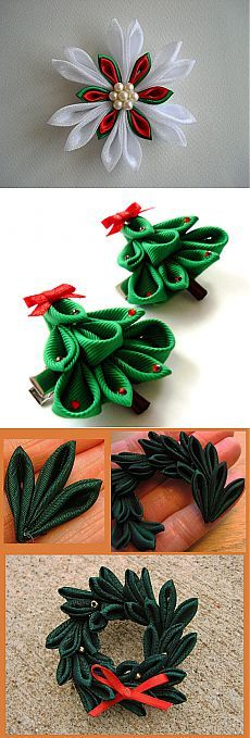 Mistletoe leaves hair pins Christmas hair accessory Cute festive bobby pins set of 2 Holiday hair pins gift for girls  Winter bobby pins
