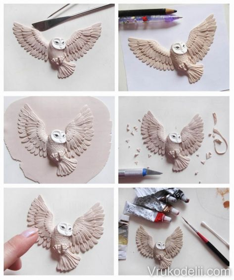 Polymer clay owl - DIY step by step tutorial - FImo DIY, polymer clay tutorials - Polymer clay owl – DIY step by step tutorial - Polymer Clay Owl, Diy Fimo, Polymer Clay Sculptures, Polymer Clay Animals, Polymer Clay Creations, Sculpture Clay, Diy Clay, Polymer Clay Jewelry, Clay Earrings