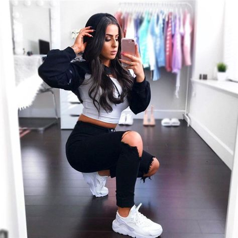 Fashion Women Tassel Cropped Hoodies Long Sleeve Solid Simple T Shirts Streetwear Hip Hop Hooded Sexy Crop Tops
