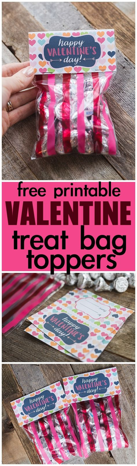 Free Printable Valentine's Day Treat Bag Toppers - Six Clever Sisters