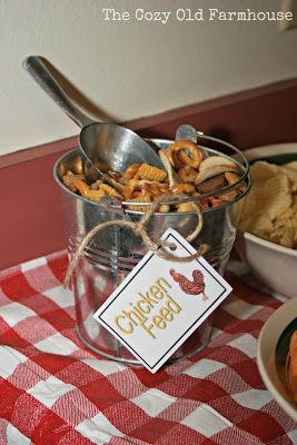 """Pinned from """"The Cozy Old """"Farmhouse"""": Barnyard 2nd Birthday. But you could have a BBQ for all ages and feature labels like these. They had """"Cow Tails"""" candy in a bucket too. Fun. Love those."""
