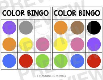 Free Color Bingo By Planning In Pjs Teachers Pay Teachers Bingo Template Bingo Bingo Patterns