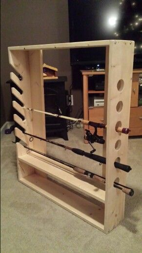 Diy Fishing Pole Rack 75 Stained 65 Unstained Message Me If Interested Fishingrodrack Fishing Pole Rack Diy Fishing Pole Fishing Rod Storage
