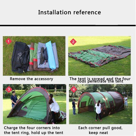 8-10 Person Large Outdoor Double Layer Tent Tunnel Camping Instant Travel Tent