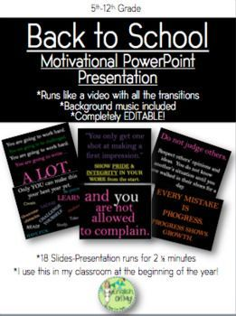 Back to School PowerPoint Slide Show-Motivational | Middle School