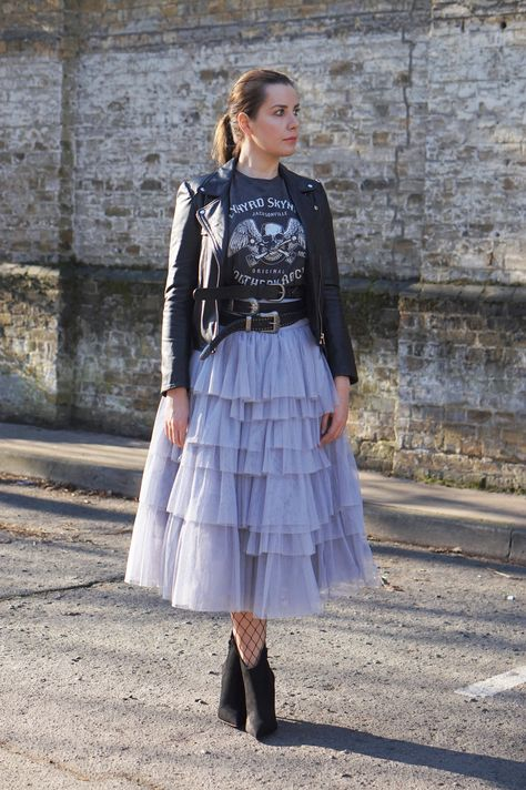 Style diaries: Tulle Skirt with Tiers and Tie Waist, Lyn Skyn Oversized T-Shirt, Basic Leather Jacket, High Heeled Ankle Boots, Multiple Layered Belts.