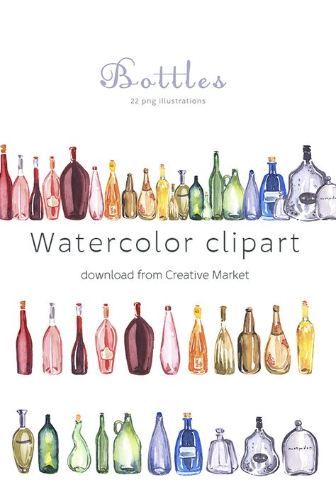 Bottles Clipart Set Watercolor Glass Bottles Illustrations Download From Creative Market Isolated Png Trans Bottle Drawing Bottle Art How To Draw Glasses