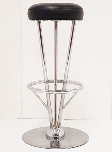 Black Leatherette Stainless Steel Bar Stool 1970s Stainless