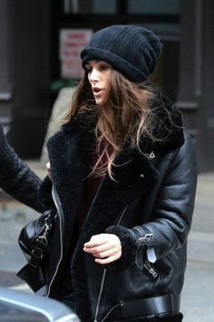 Keira Knightley Black Knit Beanie Leather Shearling Coat by Acne.