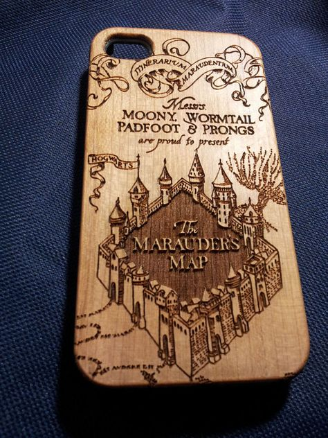 Harry Potter Inspired Marauders Map    Material: Solid Wood Back with PC Bumper.    Each case has the UNIQUE pattern which is decided by the