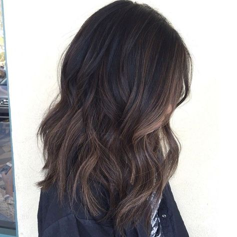 Babylights dark virgin hair with a soft balayage - love this style and color: