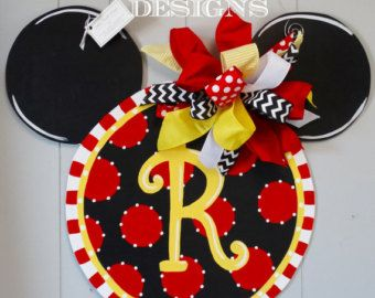 Mickey Mouse Inspired Door Hanger, Door Decoration, Birthday Door Decor
