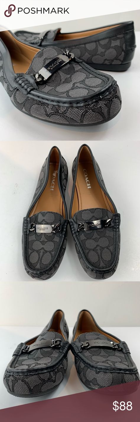 aea1fb3c48e NWOT coach olive driver moccasin signature loafer Nwob coach black and gray  signature monogram canvas moccasin. Black leather trim and gunmetal I.d. ...