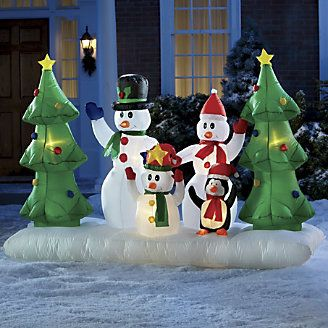 Inflatable Snowman Family with Penguin from Through the Country Door®
