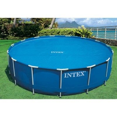 Intex 15 Foot Round Debris Cover And Vinyl Solar Cover For Above Ground Pools In 2021 Solar Pool Cover Solar Pool Pool Cover