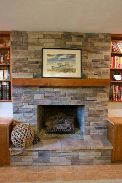 Stone Veneer Fireplace Makeover This, Can I Cover A Brick Fireplace With Stone