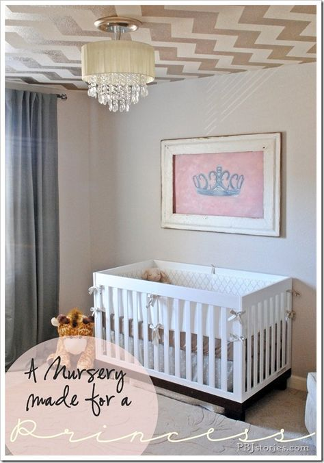An adorable baby girl's nursery by PB stories! (Check out the Lamps Plus chandelier.)