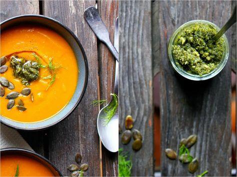 http://www.happyheartedkitchen.com/soups-bowls/roasted-pumpkin-fennel-soup-with-pumpkin-seed-pesto #winterrecipes #dinnerfortwo #soup #pumpkin #fennel