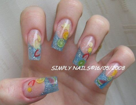 3d Fruit Nail Art With Sliced Fruit Nail Art Unas Cuadradas