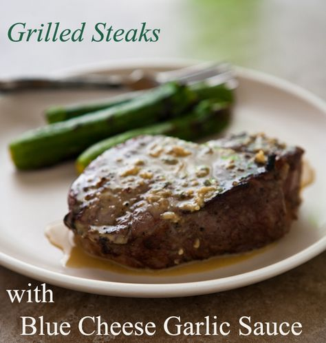 Divine Blue cheese garlic sauce!! I made this tonight and its gorgeous x Grilled Steaks with Blue Cheese Garlic Sauce @Angie McGowan (Eclectic Recipes)