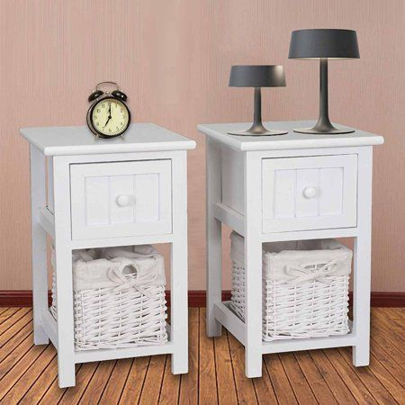 Mecor Set Of 2 Nightstand End Side Table Bedroom Bedside Home Furniture W Drawer And Wicker Basket Storage Wood Organizer Set Cabinet White Walmart Com Wicker Baskets Storage Side Tables Bedroom Shabby