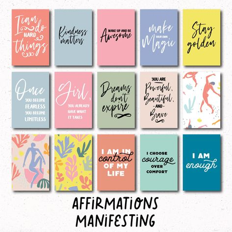 96 QUOTE CARDS, printable bundle, vision board, daily affirmations, manifesting, journal cards, planner cards, scrapbooking, full color