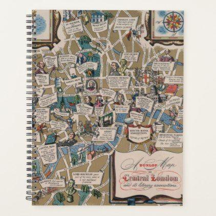 Dunlop Map Literary Landmarks Of Central London Planner Zazzle Com Central London Map England Map Unique Maps