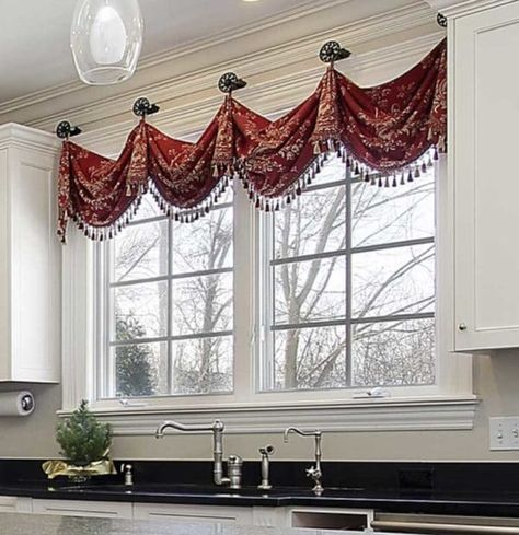 Window treatments 6 Design Rules for Valances Hung on Medallions (Knobs) How To Balance Working At H Window Swags, Kitchen Window Valances, Valance Window Treatments, Kitchen Window Treatments, Custom Window Treatments, Window Coverings, Kitchen Windows, Kitchen Curtains, Bedroom Valances