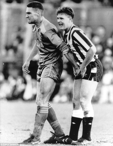 Paul Gascoigne and Vinnie Jones - squeezing Gazza's testicles during the Wimbledon v Newcastle United match at Plough Lane