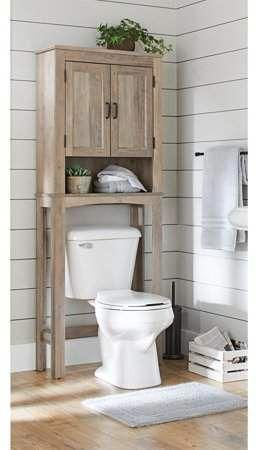 Better Homes Gardens Modern Farmhouse Over The Toilet Bathroom Space Saver With Three Fixed Shelves Rustic Gray Finish Walmart Com In 2020 Toilet Storage Bathroom Space Saver Toilet Shelves