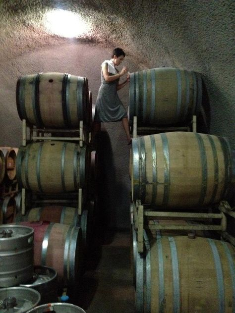 Gamling checking the wine