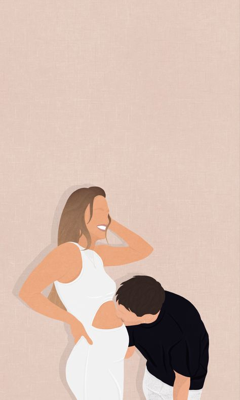 Custom Expecting Mama Illustration Digital Portrait | Flat Illustration Minimalist Style