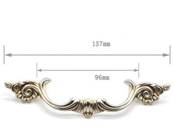 3.78 5/' Shabby Chic Dresser Drawer Pulls Handles Off White Silver  French Country Kitchen Cabinet Handle Pull Antique Furniture Hardware