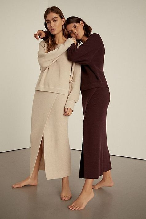 Eyes On You Set - Cream Colored Tan Two Piece Sweater Set with Matching Skirt - Travel Outfits - Airport Outfits